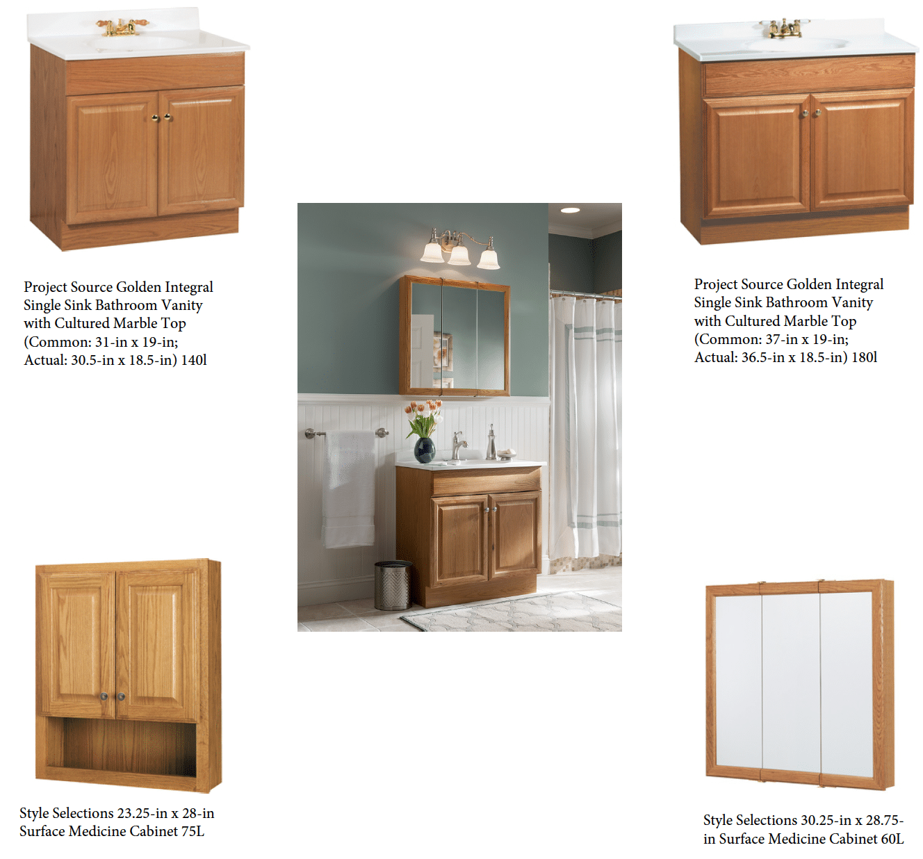 Vanity And Mirror Combination Selections For Bathroom Remodel